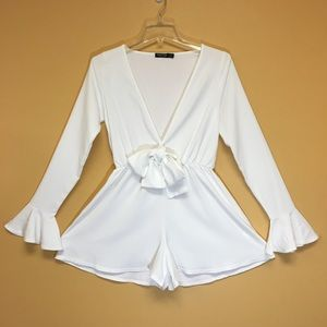 White Nasty Gal Romper with Bow